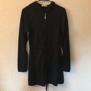 Black hooded minidress